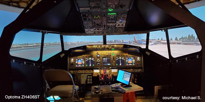 Optoma ZH406ST used in flight simulation