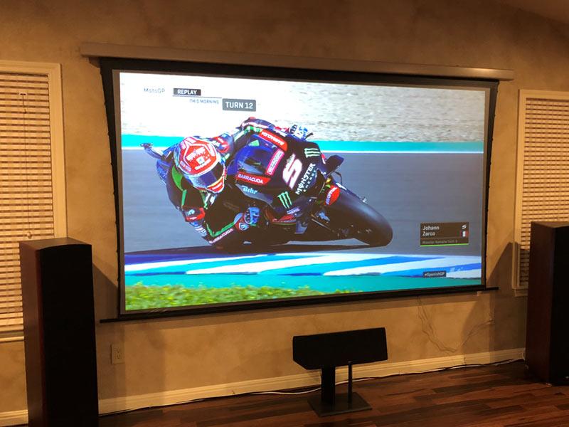 Sony VPL-VW285ES True 4K projector shown on an SI Solo Pro electric screen