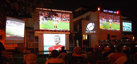 bring your projector outdoors to watch the game