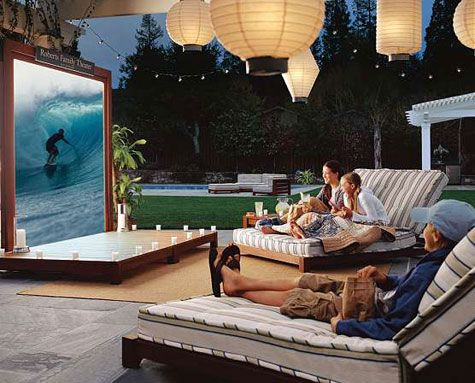 Epson projector in a backyard theater